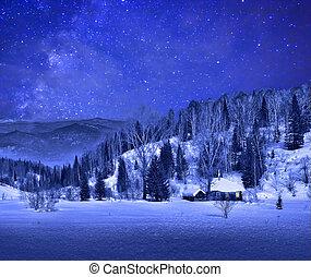 piccolo, casa legno, in, uno, notte, inverno, paesaggio montagna