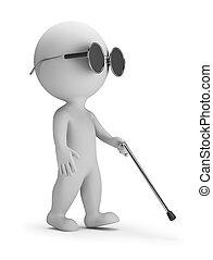 piccolo, cieco, 3d, -, persone