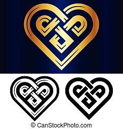 piccolo, cuore, celtico, vettore