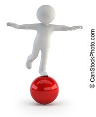 piccolo, equilibrio, -, 3d, persone