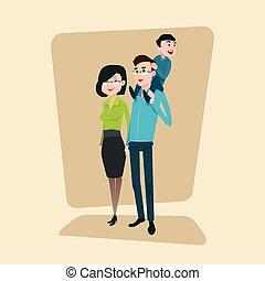 piccolo, felice, genitori, famiglia, figlio
