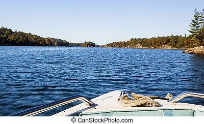 piccolo, fronte, spento, barca, vista