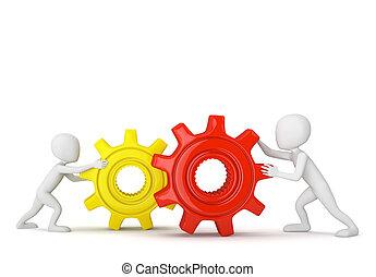 piccolo, gears., 3d, persone