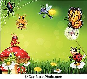 piccolo, insetto, cartone animato, fondo, natura