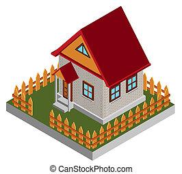 piccolo, isometrico, casa