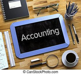 piccolo, lavagna, con, contabilità, concept., 3d.