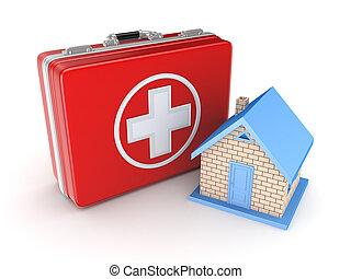 piccolo, medico, house., rosso, valigia
