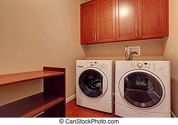 piccolo, moderno, stanza bucato, apparecchi