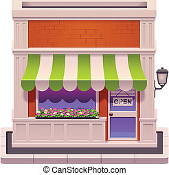 piccolo, negozio, vettore, icona
