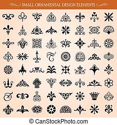 piccolo, ornamentale, elementi, disegno