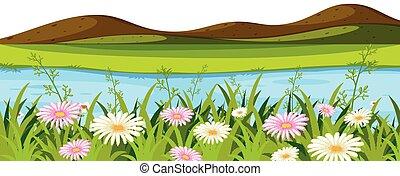 piccolo, paesaggio, fiume, colline, fondo
