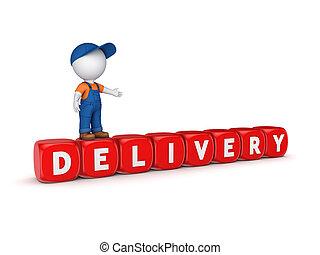 piccolo, persona, 3d, parola, delivery.