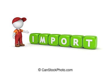 piccolo, persona, parola, import., 3d