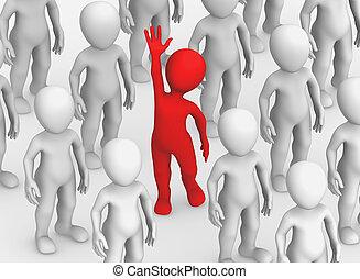 piccolo, persone., 3d, concept., scelta