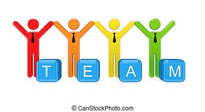 piccolo, persone., squadra, 3d
