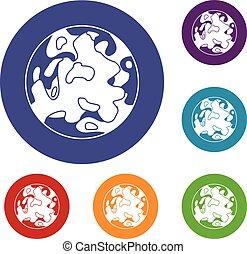 piccolo, pianeta, set, icone