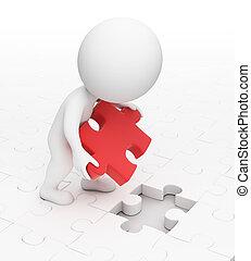 piccolo, puzzle, 3d, -, persone