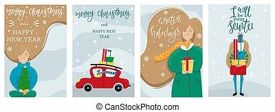 piccolo, ragazza, anno nuovo, augurio, albero, card., allegro, uomo, vettore, set, hands., automobile, home., guidato, lei, natale, rosso, felice, regali
