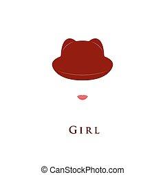 piccolo, ragazza, cappello, ears.