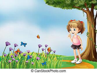 piccolo, ragazza, giardino, sopra, collina