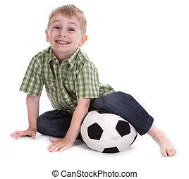 piccolo, ragazzo, 2, football