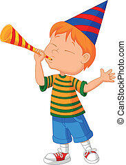 piccolo ragazzo, cartone animato, tromba