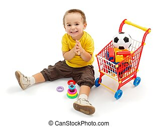 piccolo ragazzo, giocattoli, nuovo, gioco, felice