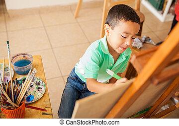 piccolo ragazzo, lavorando, uno, pittura