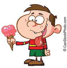 piccolo ragazzo, mangiare, un, gelato