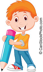 piccolo ragazzo, matita, cartone animato