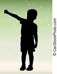 piccolo ragazzo, silhouette, con, blu, bac