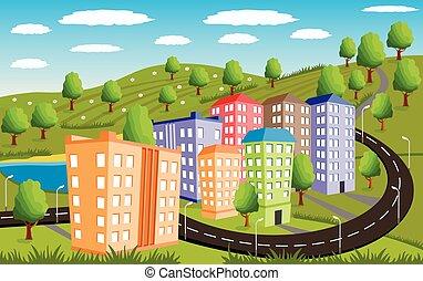 piccolo, rurale, paesaggio città