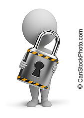 piccolo, serratura, 3d, -, persone
