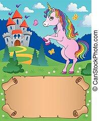 piccolo, standing, pergamena, unicorno