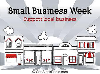 piccolo, strada principale, settimana, affari