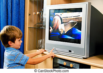 piccolo, televisione, bambino