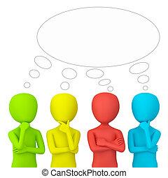 piccolo, think., 3d, -, persone