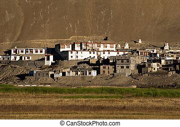 piccolo, tibetano, villaggio, a, himalaya, montagne