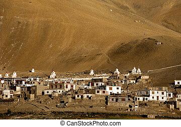 piccolo, tibetano, villaggio, in, himalaya, montagne., india