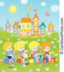 piccolo, treno, giocattolo, campo di gioco, bambini