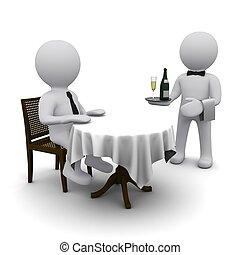 piccolo, tridimensionale, uomo, cena