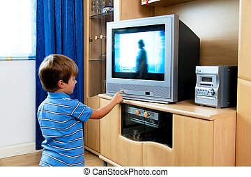 piccolo, tv, bambino, osservare