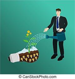 piccolo, uomo affari, irrigazione, albero, soldi