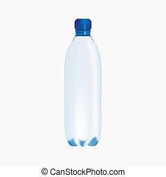 piccolo, vettore, bianco, bottiglia, puro, fondo, acqua