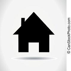 piccolo, vettore, house., icona