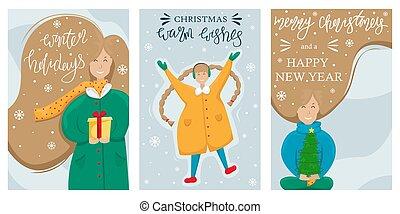 piccolo, vettore, ragazza, anno nuovo, marche, set, augurio, lei, angelo, hands., albero, natale, felice, card., snow., allegro