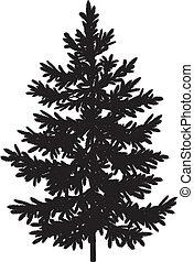 picea, abeto, silueta, árbol de navidad