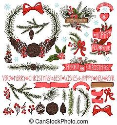 picea, conos, ramas, decoración, set., navidad, grupo, pino