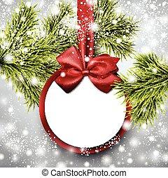 picea, tarjeta de papel, branches., regalo