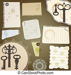 pices, kawa, papier, rocznik wina, porwany, elements:, wektor, projektować, plamy, serwetki, klucz, album na wycinki
